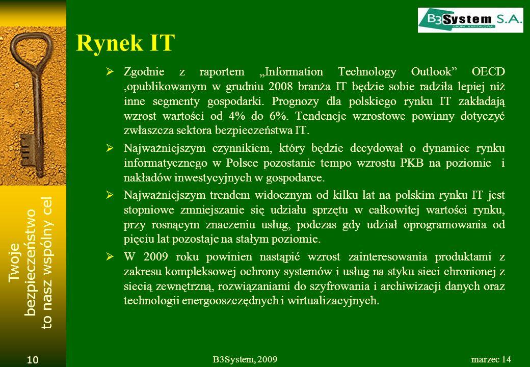 Twoje bezpieczeństwo to nasz wspólny cel Rynek IT Zgodnie z raportem Information Technology Outlook OECD,opublikowanym w grudniu 2008 branża IT będzie sobie radziła lepiej niż inne segmenty gospodarki.