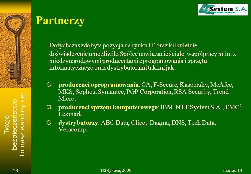 Twoje bezpieczeństwo to nasz wspólny cel marzec 14B3System, 2009 13 Partnerzy Dotychczas zdobyta pozycja na rynku IT oraz kilkuletnie doświadczenie umożliwiło Spółce nawiązanie ścisłej współpracy m.in.