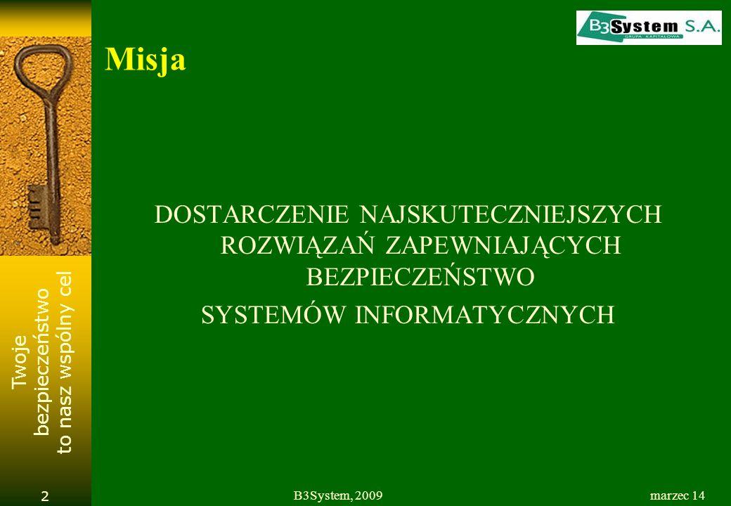 Twoje bezpieczeństwo to nasz wspólny cel marzec 14B3System, 2009 2 Misja DOSTARCZENIE NAJSKUTECZNIEJSZYCH ROZWIĄZAŃ ZAPEWNIAJĄCYCH BEZPIECZEŃSTWO SYST