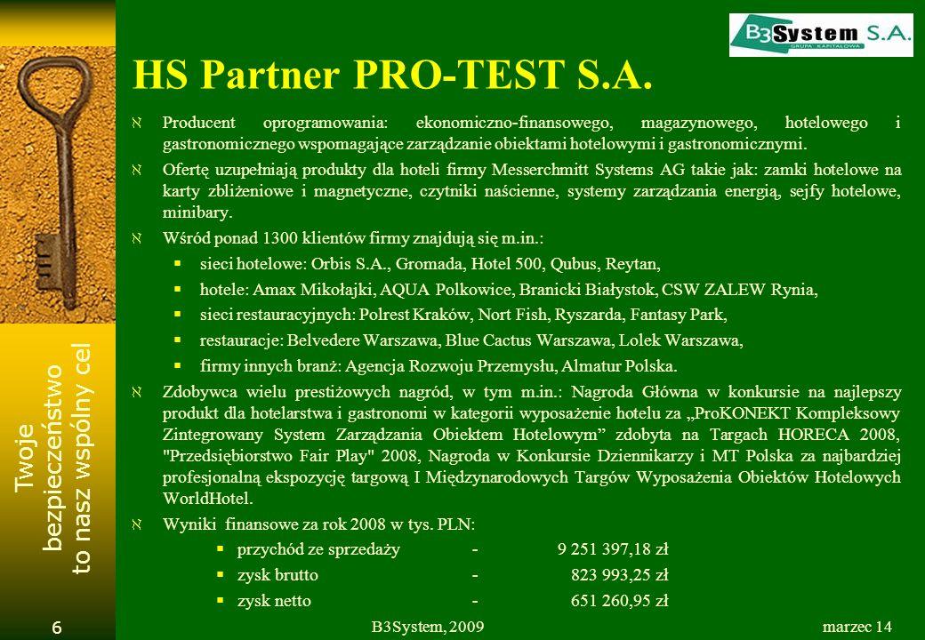 Twoje bezpieczeństwo to nasz wspólny cel marzec 14B3System, 2009 17 Dane finansowe ( w tys. PLN )