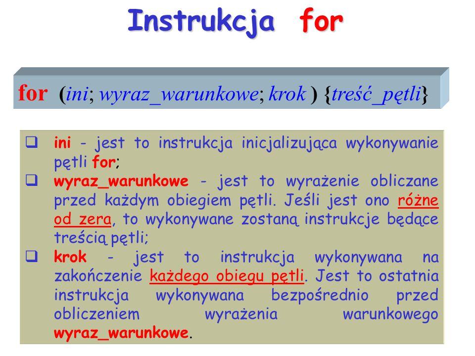Instrukcja for for (ini; wyraz_warunkowe; krok ) {treść_pętli} ini - jest to instrukcja inicjalizująca wykonywanie pętli for; wyraz_warunkowe - jest to wyrażenie obliczane przed każdym obiegiem pętli.