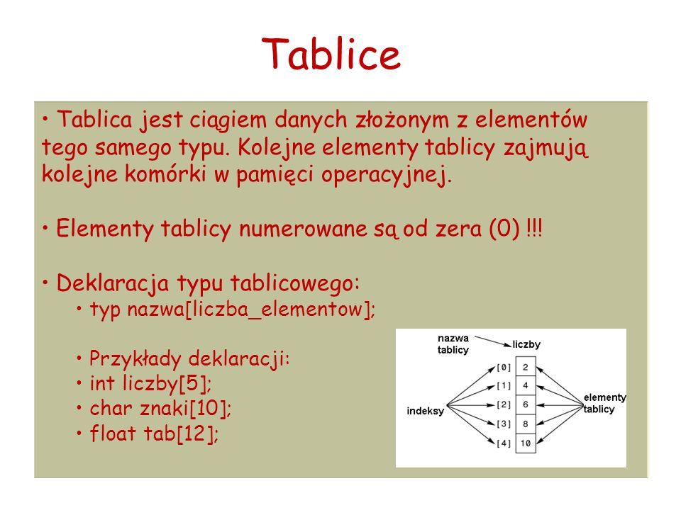 Tablice Tablica jest ciągiem danych złożonym z elementów tego samego typu.