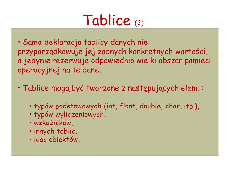 Tablice (2) Sama deklaracja tablicy danych nie przyporządkowuje jej żadnych konkretnych wartości, a jedynie rezerwuje odpowiednio wielki obszar pamięci operacyjnej na te dane.