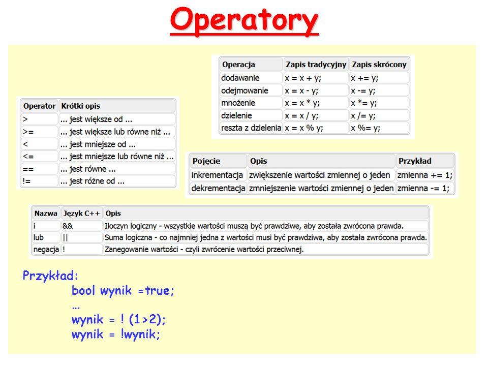 Operatory Przykład: bool wynik =true; … wynik = ! (1>2); wynik = !wynik;