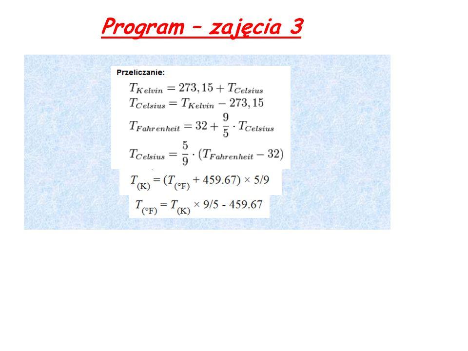 Program – zajęcia 3