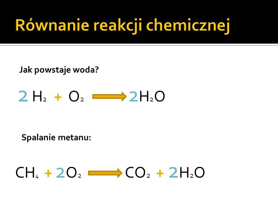 2 H 2 + O 2 2 H 2 O CH 4 + 2 O 2 CO 2 + 2 H 2 O Jak powstaje woda? Spalanie metanu: