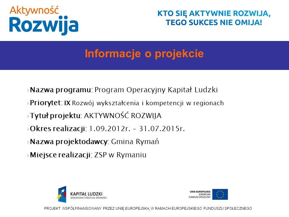 PROJEKT WSPÓŁFINANSOWANY PRZEZ UNIĘ EUROPEJSKĄ W RAMACH EUROPEJSKIEGO FUNDUSZU SPOŁECZNEGO Informacje o projekcie Nazwa programu: Program Operacyjny Kapitał Ludzki Priorytet: IX Rozwój wykształcenia i kompetencji w regionach Tytuł projektu: AKTYWNOŚĆ ROZWIJA Okres realizacji: 1.09.2012r.