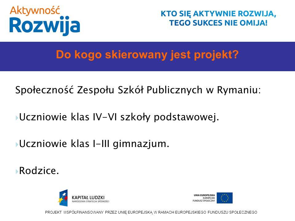 PROJEKT WSPÓŁFINANSOWANY PRZEZ UNIĘ EUROPEJSKĄ W RAMACH EUROPEJSKIEGO FUNDUSZU SPOŁECZNEGO Do kogo skierowany jest projekt.