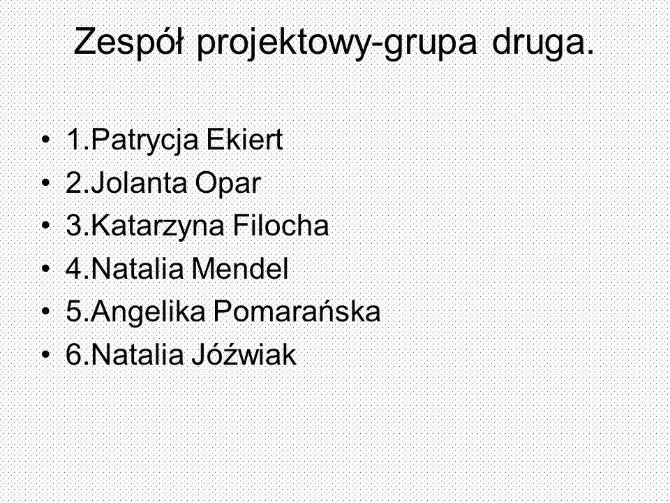 Zespół projektowy-grupa druga. 1.Patrycja Ekiert 2.Jolanta Opar 3.Katarzyna Filocha 4.Natalia Mendel 5.Angelika Pomarańska 6.Natalia Jóźwiak
