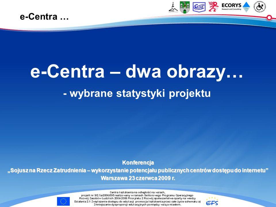 e-Centra … e-Centra – dwa obrazy… - wybrane statystyki projektu Konferencja Sojusz na Rzecz Zatrudnienia – wykorzystanie potencjału publicznych centrów dostępu do internetu Warszawa 23 czerwca 2009 r.