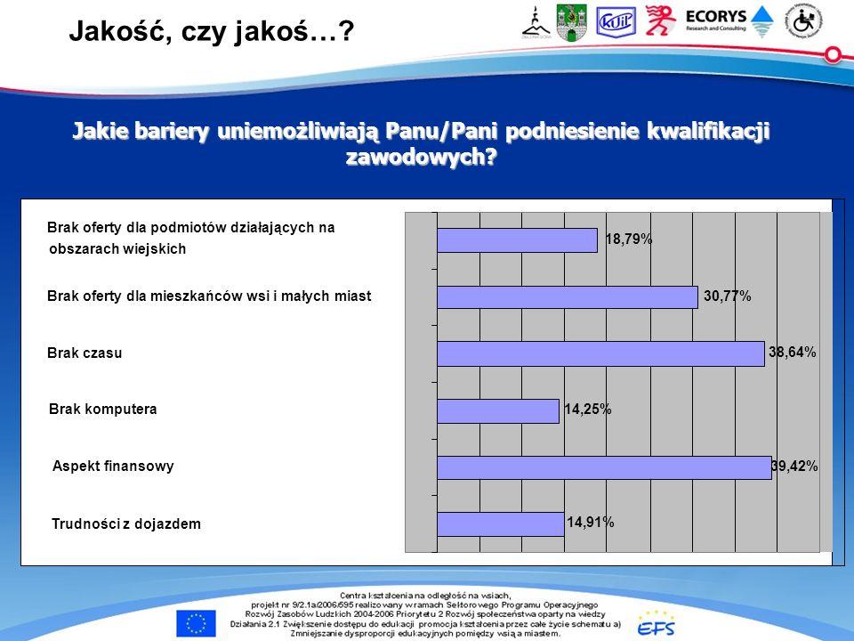 e-Centra … Jakie bariery uniemożliwiają Panu/Pani podniesienie kwalifikacji zawodowych? 14,91% 39,42% 14,25% 38,64% 30,77% 18,79% Trudności z dojazdem