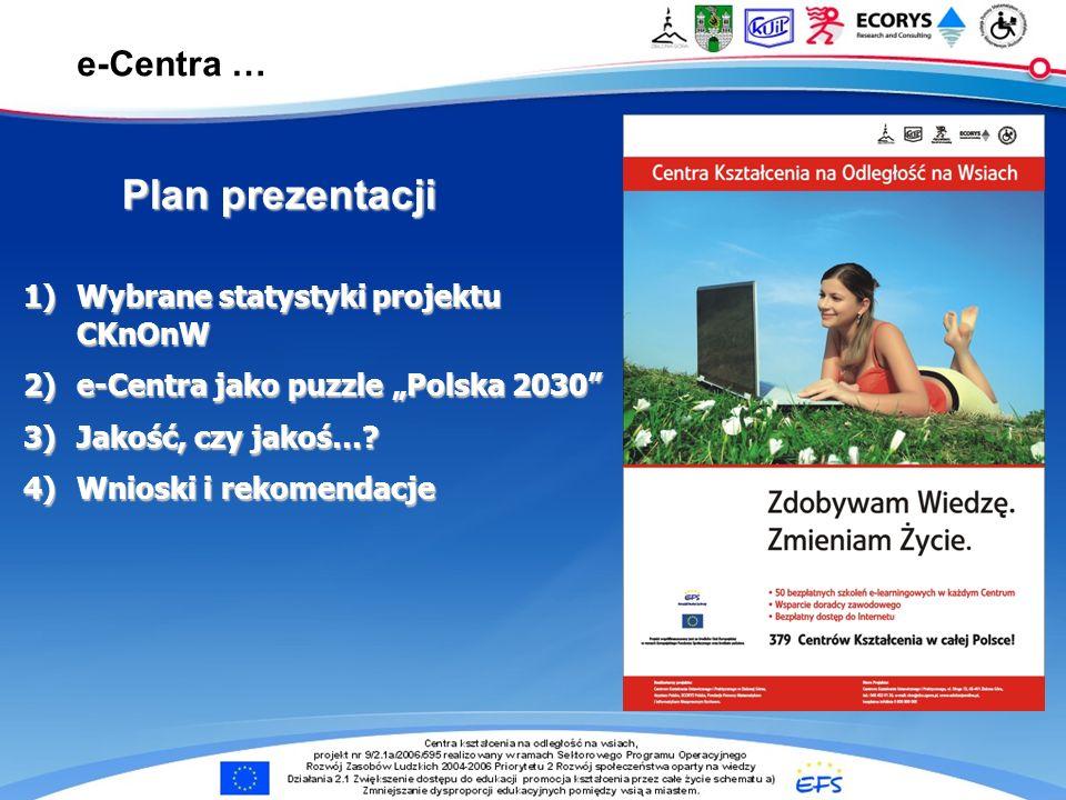 e-Centra … 1)Wybrane statystyki projektu CKnOnW 2)e-Centra jako puzzle Polska 2030 3)Jakość, czy jakoś…? 4)Wnioski i rekomendacje Plan prezentacji