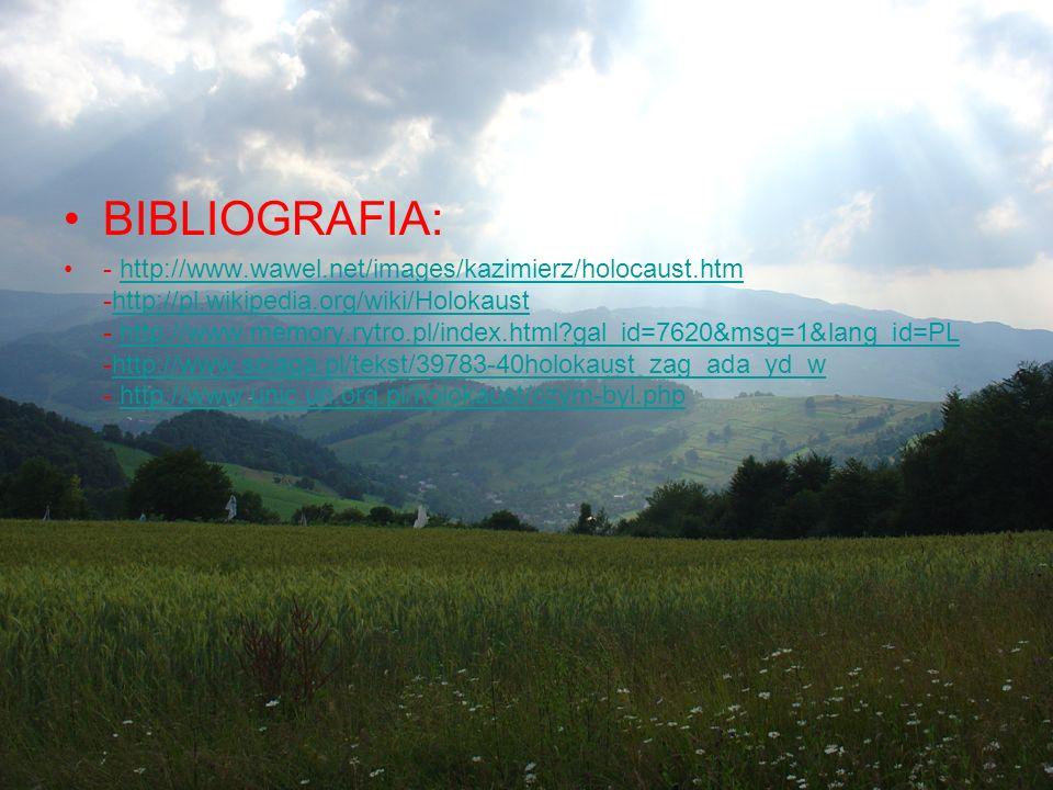 BIBLIOGRAFIA: - http://www.wawel.net/images/kazimierz/holocaust.htmhttp://www.wawel.net/images/kazimierz/holocaust.htm -http://pl.wikipedia.org/wiki/H