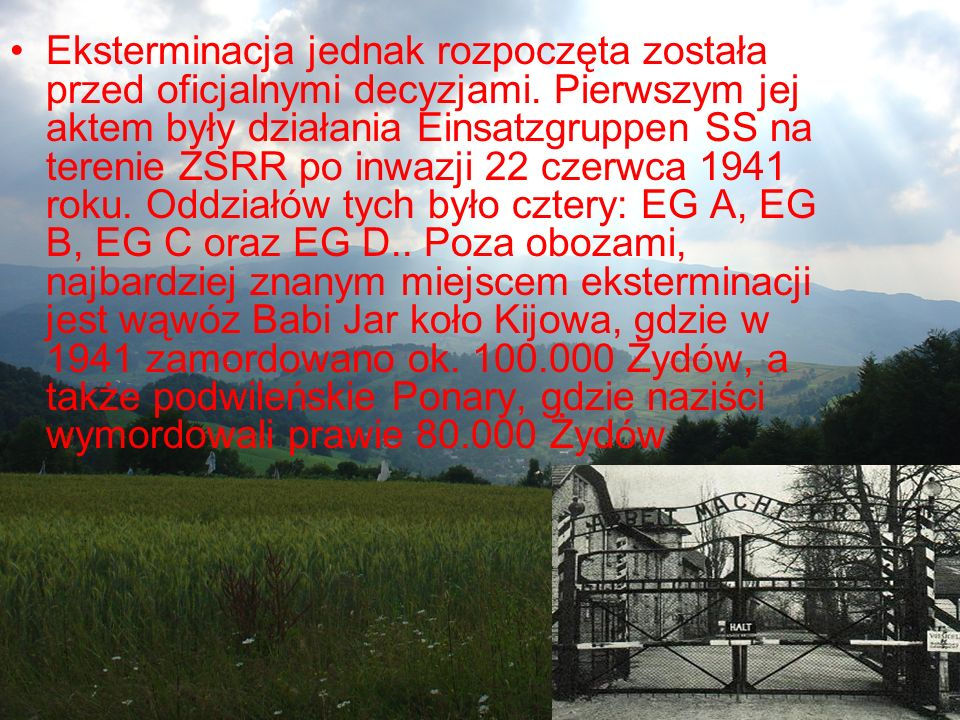 Eksterminacja jednak rozpoczęta została przed oficjalnymi decyzjami. Pierwszym jej aktem były działania Einsatzgruppen SS na terenie ZSRR po inwazji 2