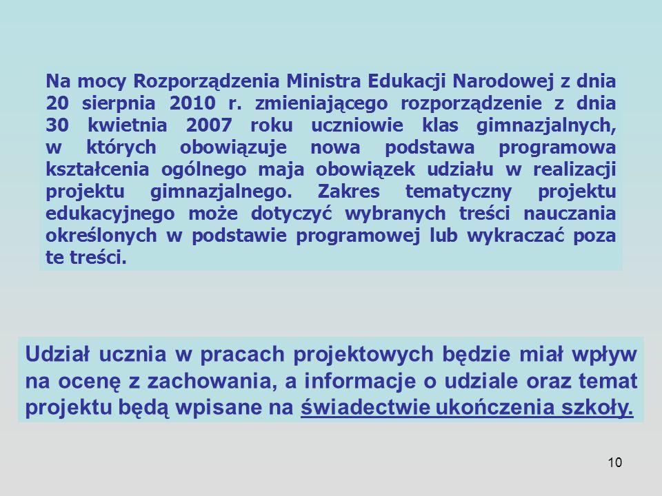 10 Na mocy Rozporządzenia Ministra Edukacji Narodowej z dnia 20 sierpnia 2010 r. zmieniającego rozporządzenie z dnia 30 kwietnia 2007 roku uczniowie k