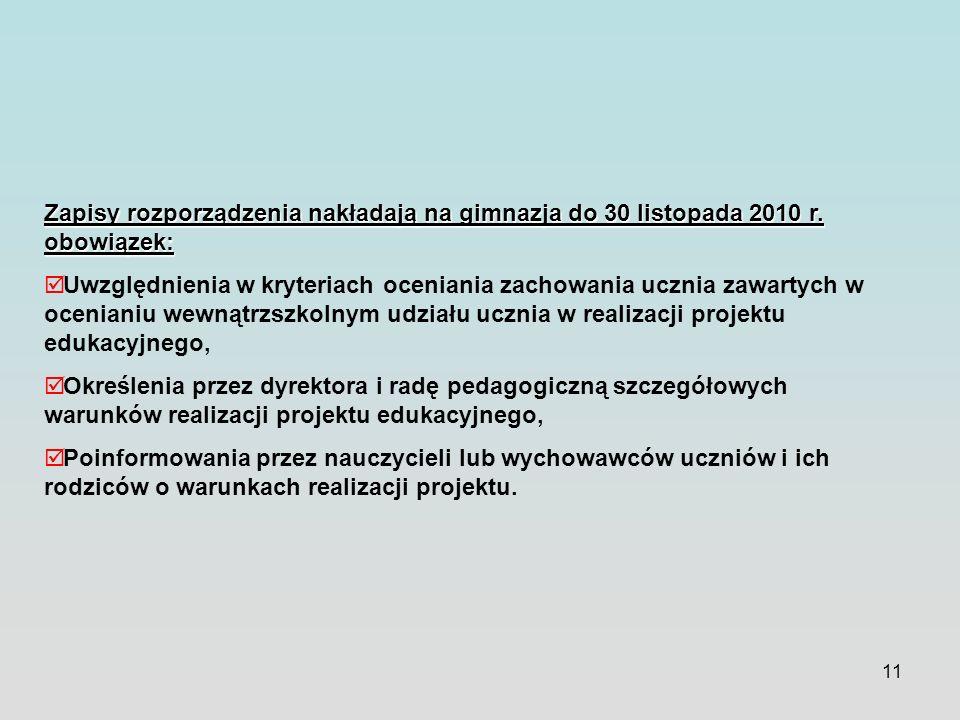 11 Zapisy rozporządzenia nakładają na gimnazja do 30 listopada 2010 r. obowiązek: Uwzględnienia w kryteriach oceniania zachowania ucznia zawartych w o