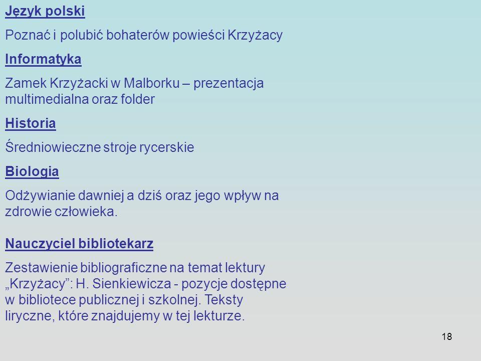 18 Język polski Poznać i polubić bohaterów powieści Krzyżacy Informatyka Zamek Krzyżacki w Malborku – prezentacja multimedialna oraz folder Historia Ś