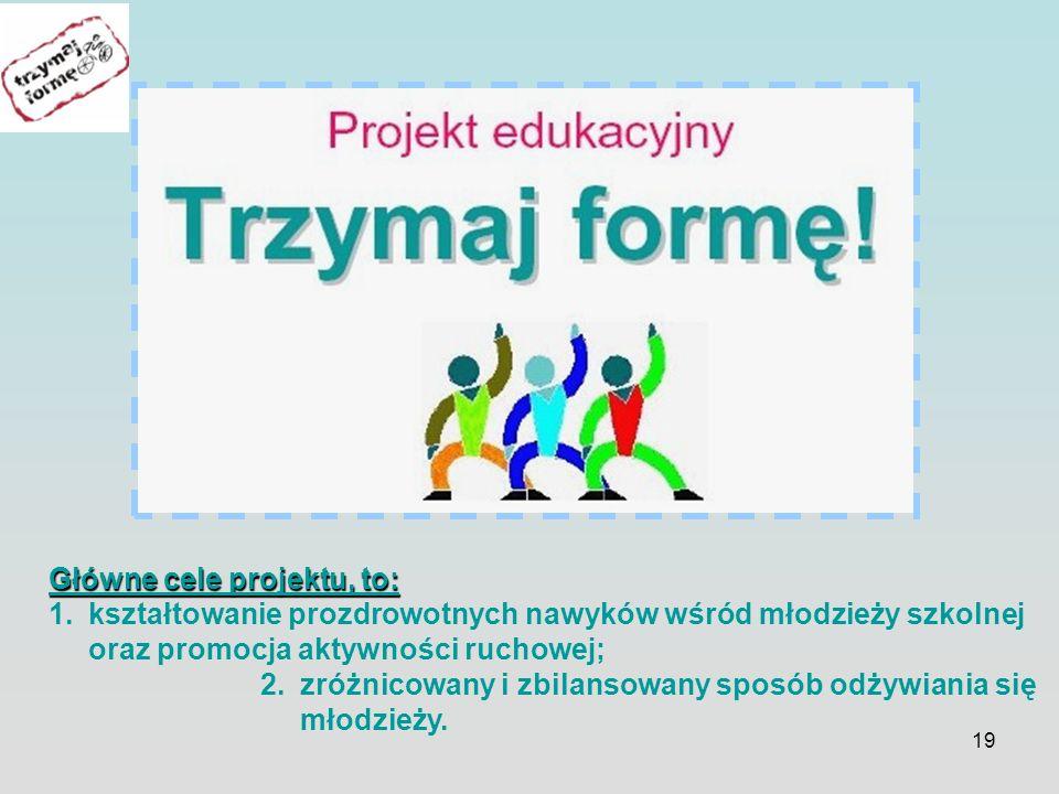 19 Główne cele projektu, to: 1.kształtowanie prozdrowotnych nawyków wśród młodzieży szkolnej oraz promocja aktywności ruchowej; 2.zróżnicowany i zbilansowany sposób odżywiania się młodzieży.