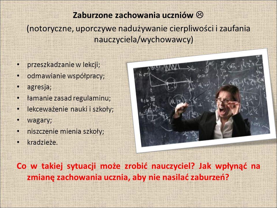 Zaburzone zachowania uczniów (notoryczne, uporczywe nadużywanie cierpliwości i zaufania nauczyciela/wychowawcy) przeszkadzanie w lekcji; odmawianie ws