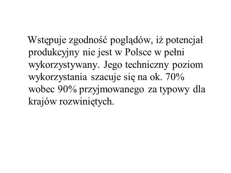 Wstępuje zgodność poglądów, iż potencjał produkcyjny nie jest w Polsce w pełni wykorzystywany. Jego techniczny poziom wykorzystania szacuje się na ok.