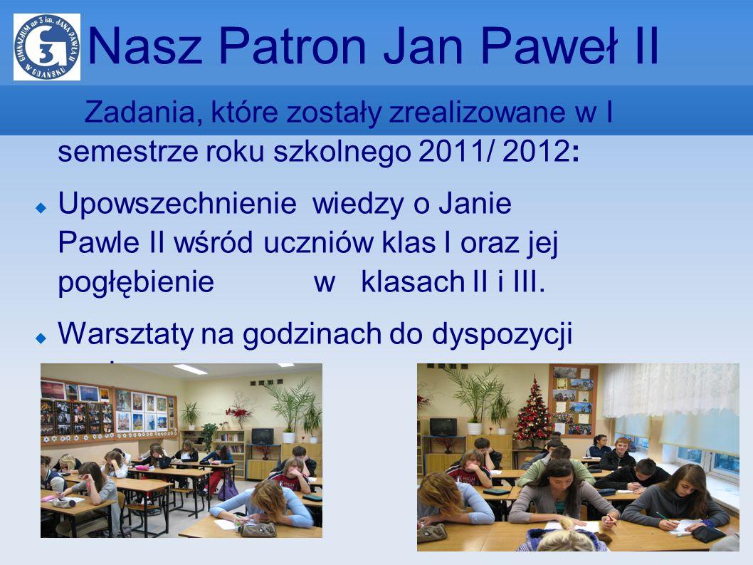 Nasz Patron Jan Paweł II Zadania, które zostały zrealizowane w I semestrze roku szkolnego 2011/ 2012: Upowszechnienie wiedzy o Janie Pawle II wśród uc