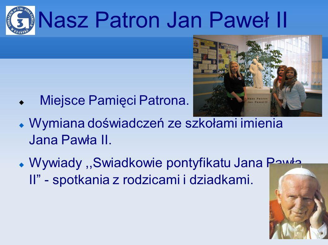 Nasz Patron Jan Paweł II Miejsce Pamięci Patrona. Wymiana doświadczeń ze szkołami imienia Jana Pawła II. Wywiady,,Swiadkowie pontyfikatu Jana Pawła II