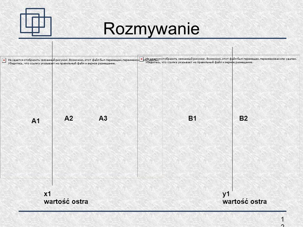 1212 Rozmywanie A1 A2A3B1B2 x1 wartość ostra y1 wartość ostra