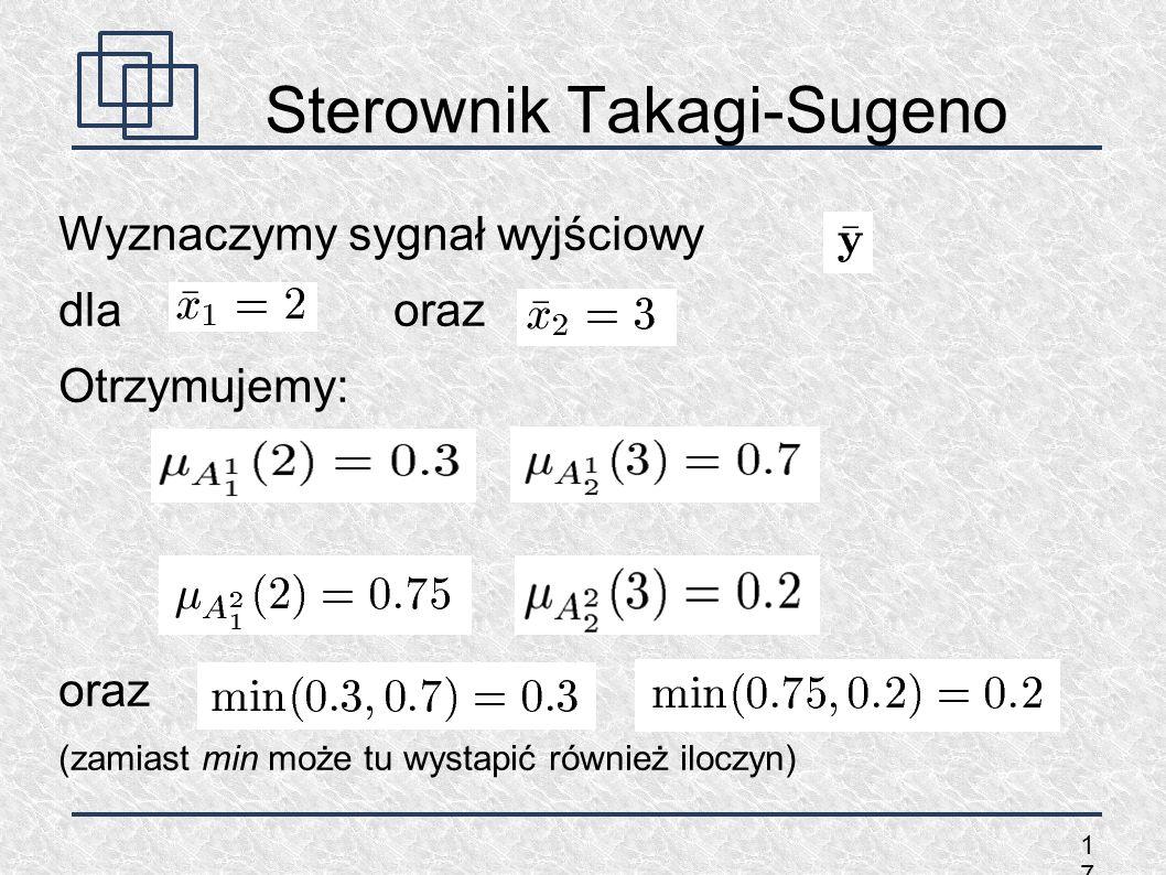 1717 Sterownik Takagi-Sugeno Wyznaczymy sygnał wyjściowy dla oraz Otrzymujemy: oraz (zamiast min może tu wystapić również iloczyn)