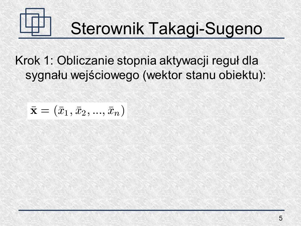 6 Sterownik Takagi-Sugeno Dla reguły 1 obliczamy: oraz stopień aktywacji reguły 1: