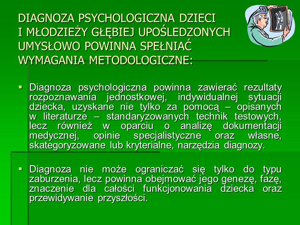 DIAGNOZA PSYCHOLOGICZNA DZIECI I MŁODZIEŻY GŁĘBIEJ UPOŚLEDZONYCH UMYSŁOWO POWINNA SPEŁNIAĆ WYMAGANIA METODOLOGICZNE: Diagnoza psychologiczna powinna z