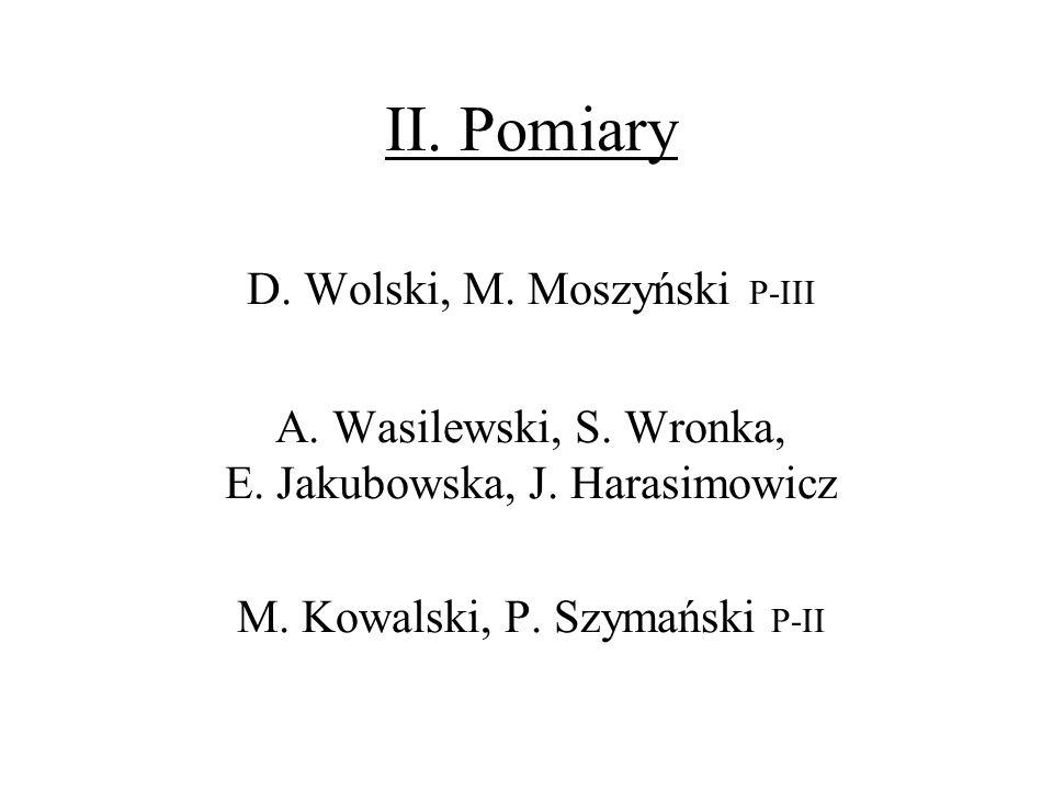 II. Pomiary D. Wolski, M. Moszyński P-III A. Wasilewski, S. Wronka, E. Jakubowska, J. Harasimowicz M. Kowalski, P. Szymański P-II
