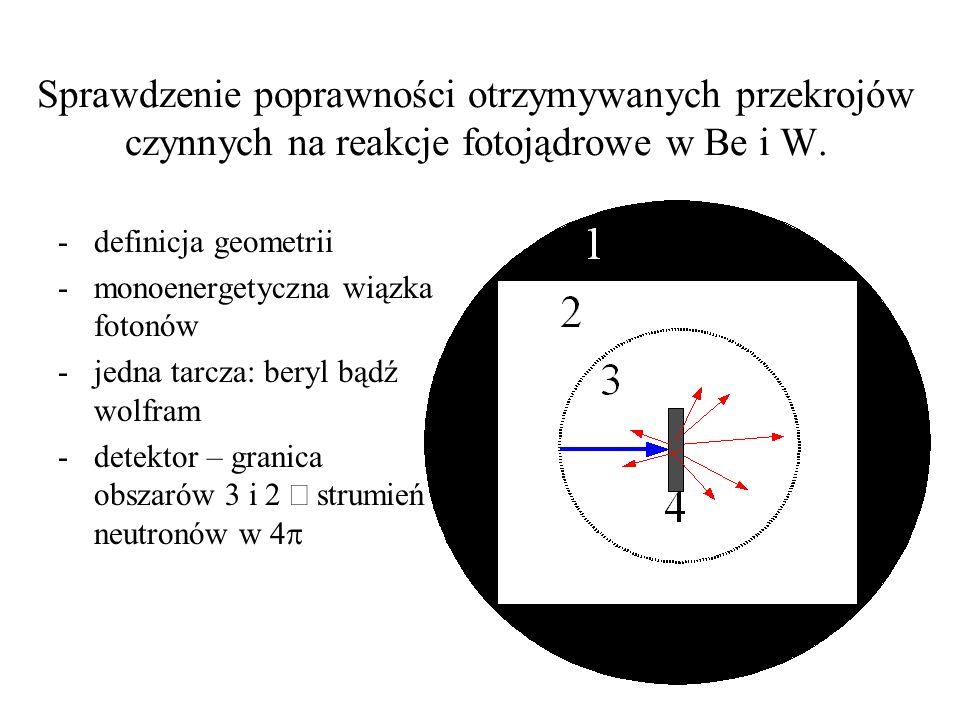Sprawdzenie poprawności otrzymywanych przekrojów czynnych na reakcje fotojądrowe w Be i W. -definicja geometrii -monoenergetyczna wiązka fotonów -jedn