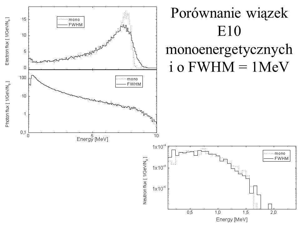 Porównanie wiązek E10 monoenergetycznych i o FWHM = 1MeV