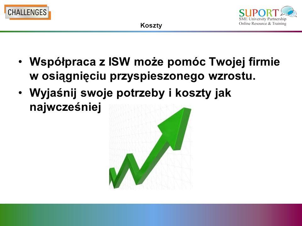 Koszty Współpraca z ISW może pomóc Twojej firmie w osiągnięciu przyspieszonego wzrostu.