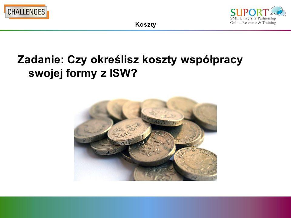 Koszty Zadanie: Czy określisz koszty współpracy swojej formy z ISW