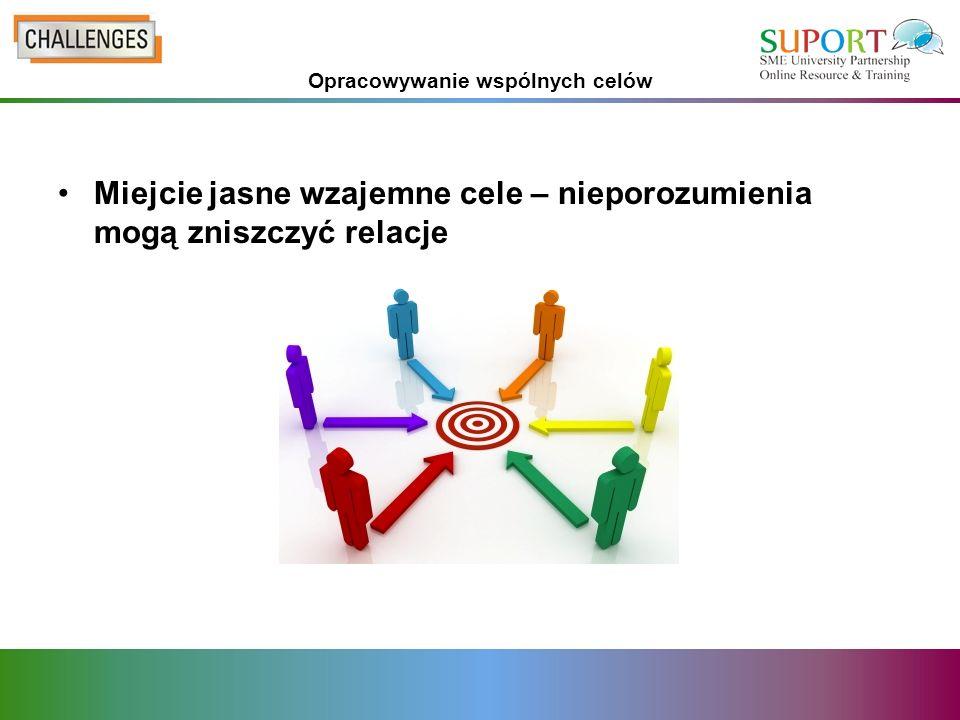 Opracowywanie wspólnych celów Miejcie jasne wzajemne cele – nieporozumienia mogą zniszczyć relacje