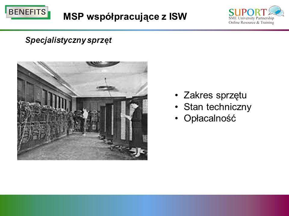Specjalistyczny sprzęt Zakres sprzętu Stan techniczny Opłacalność MSP współpracujące z ISW