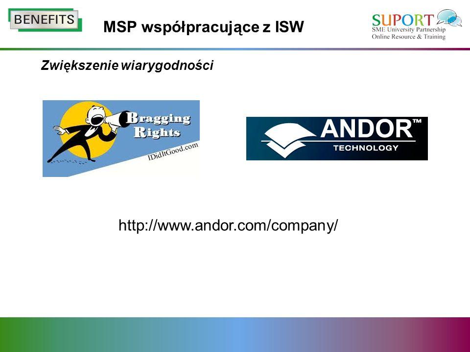 Zwiększenie wiarygodności MSP współpracujące z ISW http://www.andor.com/company/