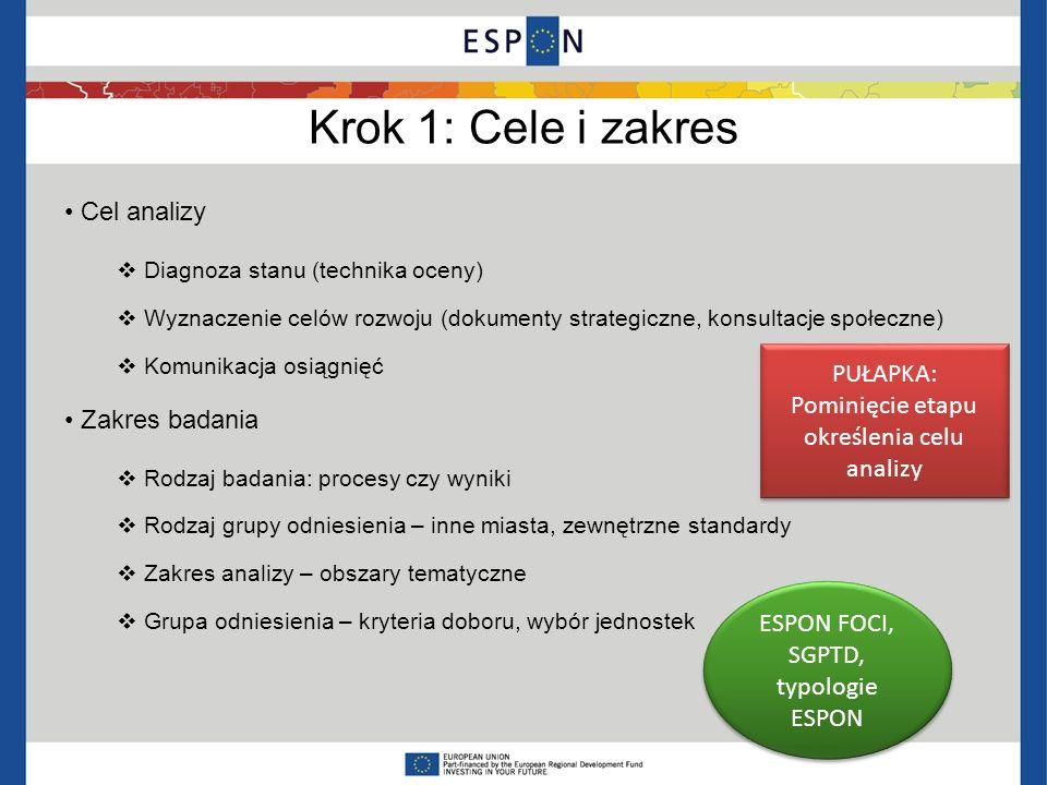 Krok 1: Cele i zakres Cel analizy Diagnoza stanu (technika oceny) Wyznaczenie celów rozwoju (dokumenty strategiczne, konsultacje społeczne) Komunikacj