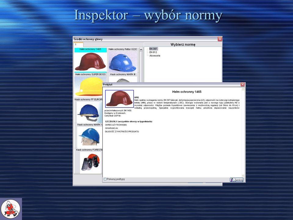 Inspektor – wybór normy