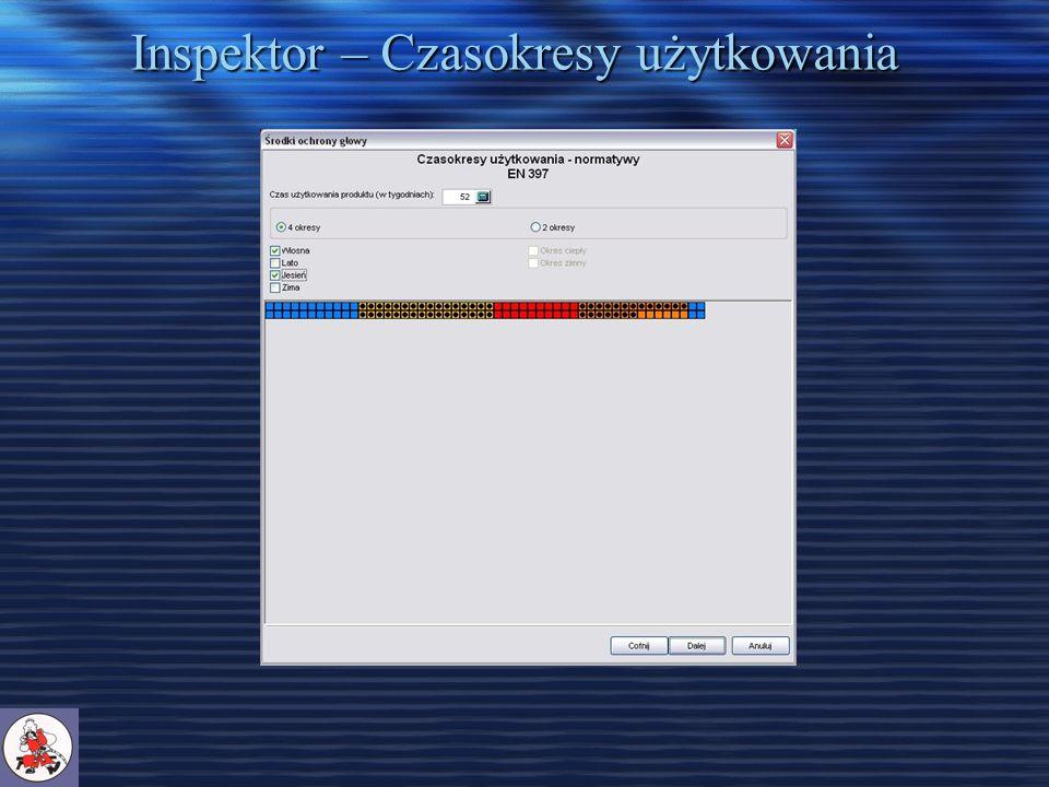 Inspektor – Czasokresy użytkowania