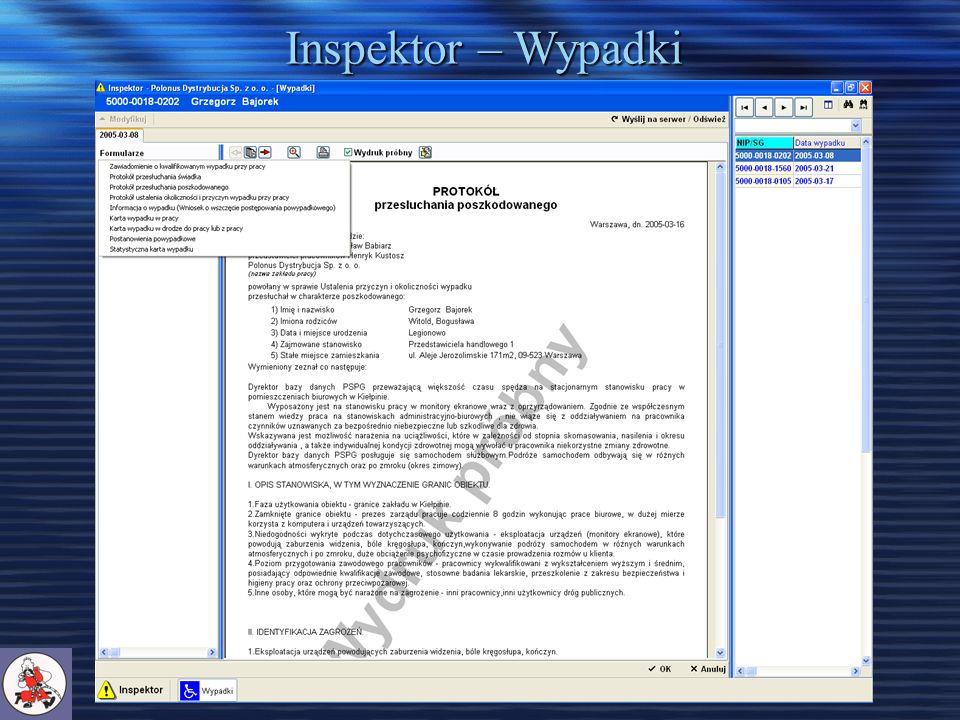 Inspektor – Wypadki