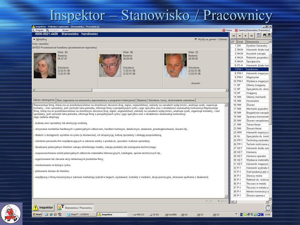 Inspektor – Stanowisko / Pracownicy
