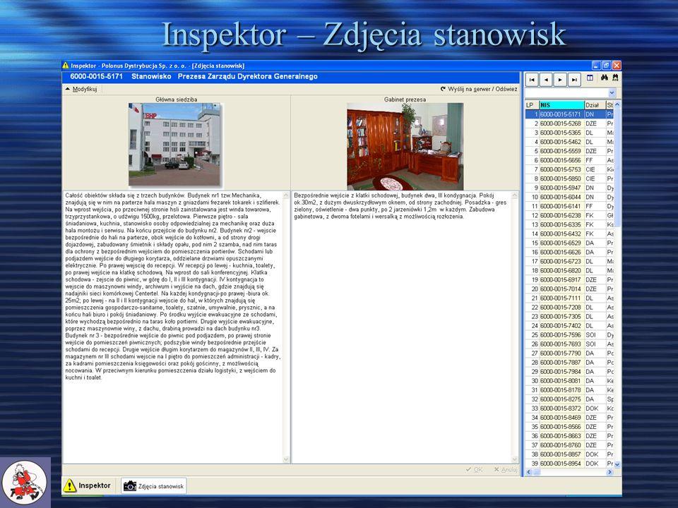 Inspektor – Zdjęcia stanowisk