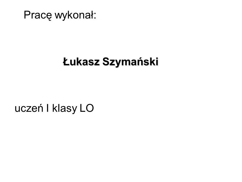 Pracę wykonał: Łukasz Szymański uczeń I klasy LO