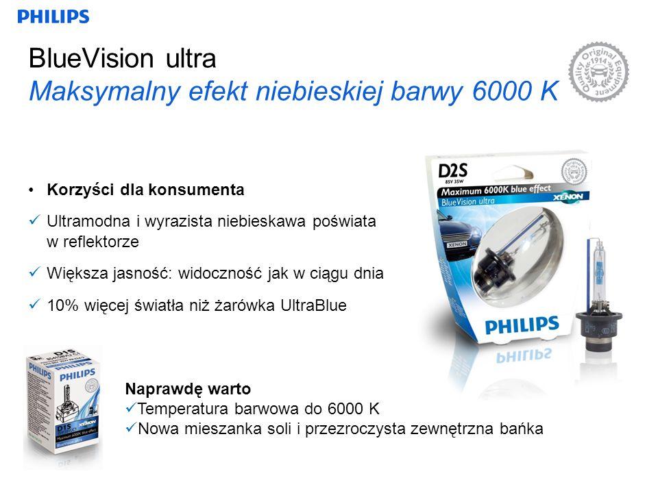 BlueVision ultra Maksymalny efekt niebieskiej barwy 6000 K Korzyści dla konsumenta Ultramodna i wyrazista niebieskawa poświata w reflektorze Większa jasność: widoczność jak w ciągu dnia 10% więcej światła niż żarówka UltraBlue Naprawdę warto Temperatura barwowa do 6000 K Nowa mieszanka soli i przezroczysta zewnętrzna bańka