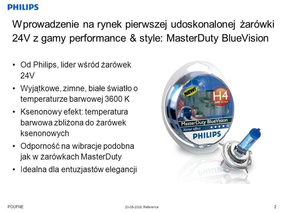 POUFNE 20-05-2008, Reference 2 Wprowadzenie na rynek pierwszej udoskonalonej żarówki 24V z gamy performance & style: MasterDuty BlueVision Od Philips, lider wśród żarówek 24V Wyjątkowe, zimne, białe światło o temperaturze barwowej 3600 K Ksenonowy efekt: temperatura barwowa zbliżona do żarówek ksenonowych Odporność na wibracje podobna jak w żarówkach MasterDuty Idealna dla entuzjastów elegancji