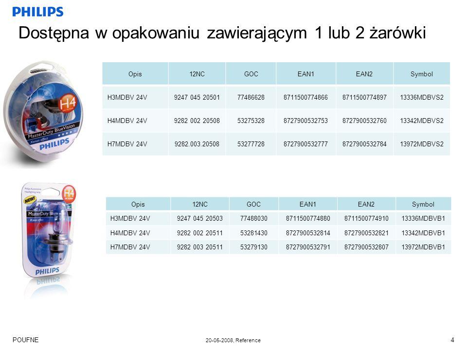 POUFNE 20-05-2008, Reference 5 Kompletna gama żarówek 24V Żarówki MasterLife święcą dłużej niż jakakolwiek inna żarówka reflektorowa 24V dostępna na rynku Żarówki MasterDuty zapewniają maksymalną odporność na wibracje