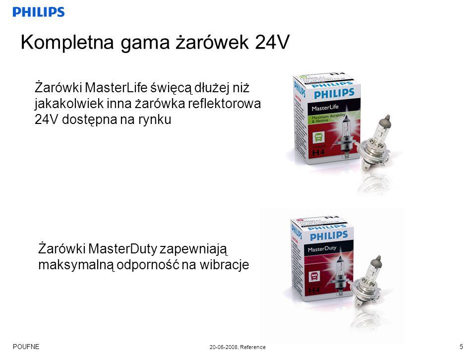 POUFNE 20-05-2008, Reference 5 Kompletna gama żarówek 24V Żarówki MasterLife święcą dłużej niż jakakolwiek inna żarówka reflektorowa 24V dostępna na r