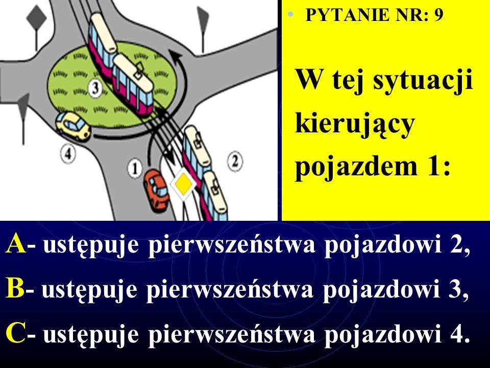 PYTANIE NR: 8 Na tym skrzyżowaniu kierujący pojazdem 1: A - ustępuje pierwszeństwa pojazdowi 2, B - ustępuje pierwszeństwa pojazdowi 3, C - ma pierwszeństwo przed pojazdem 4.
